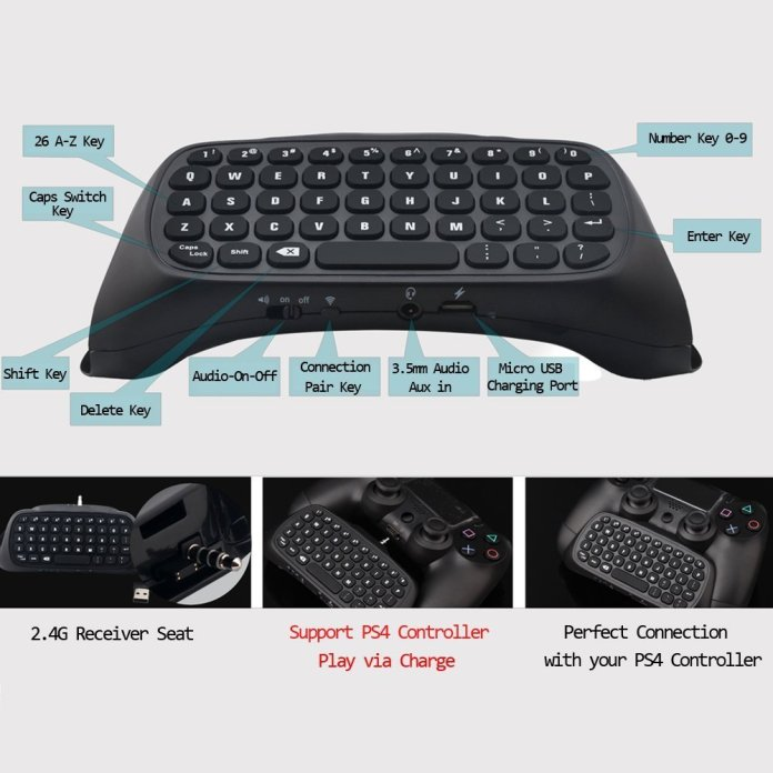 Joso Full QWERTY Messaging Chatpad for the PS4 features