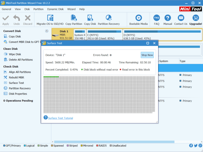 MiniTool Partition Wizard 10.2 review, freeware partition tool download, pro edition upgrade from free version, dynamic disk management software, scheck for bad sectors test software