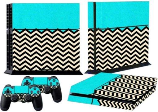 Mod Freakz Console and Controller Vinyl Skin Set - Turquoise Zig Zag for PlayStation 4 Mod Freakz
