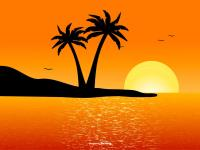 beautiful tropical landscape scene vector