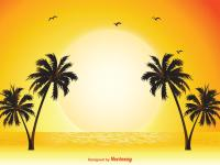 palm tree vector tropical scene illustration