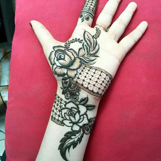 rose mehndi designs for kids hand