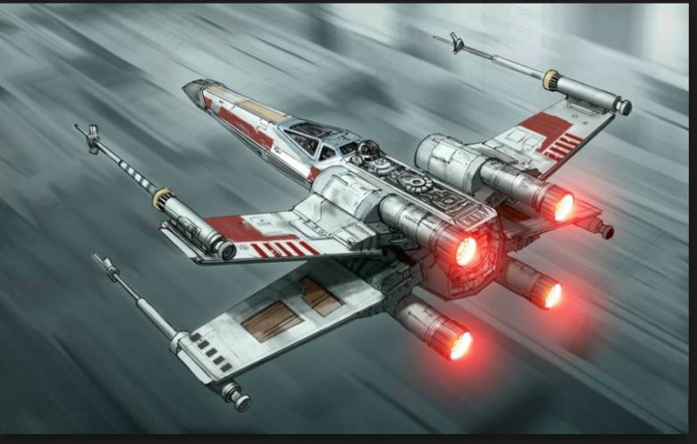 Star Wars R2d2 X Wing air scene red lights