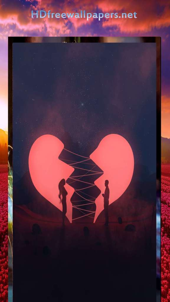 amazing love couple in the broken heart wallpaper