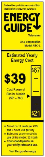 New Energy Guide Label for TV - vertical