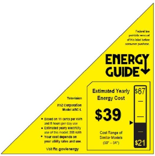 New Energy Guide Label for TV - corner