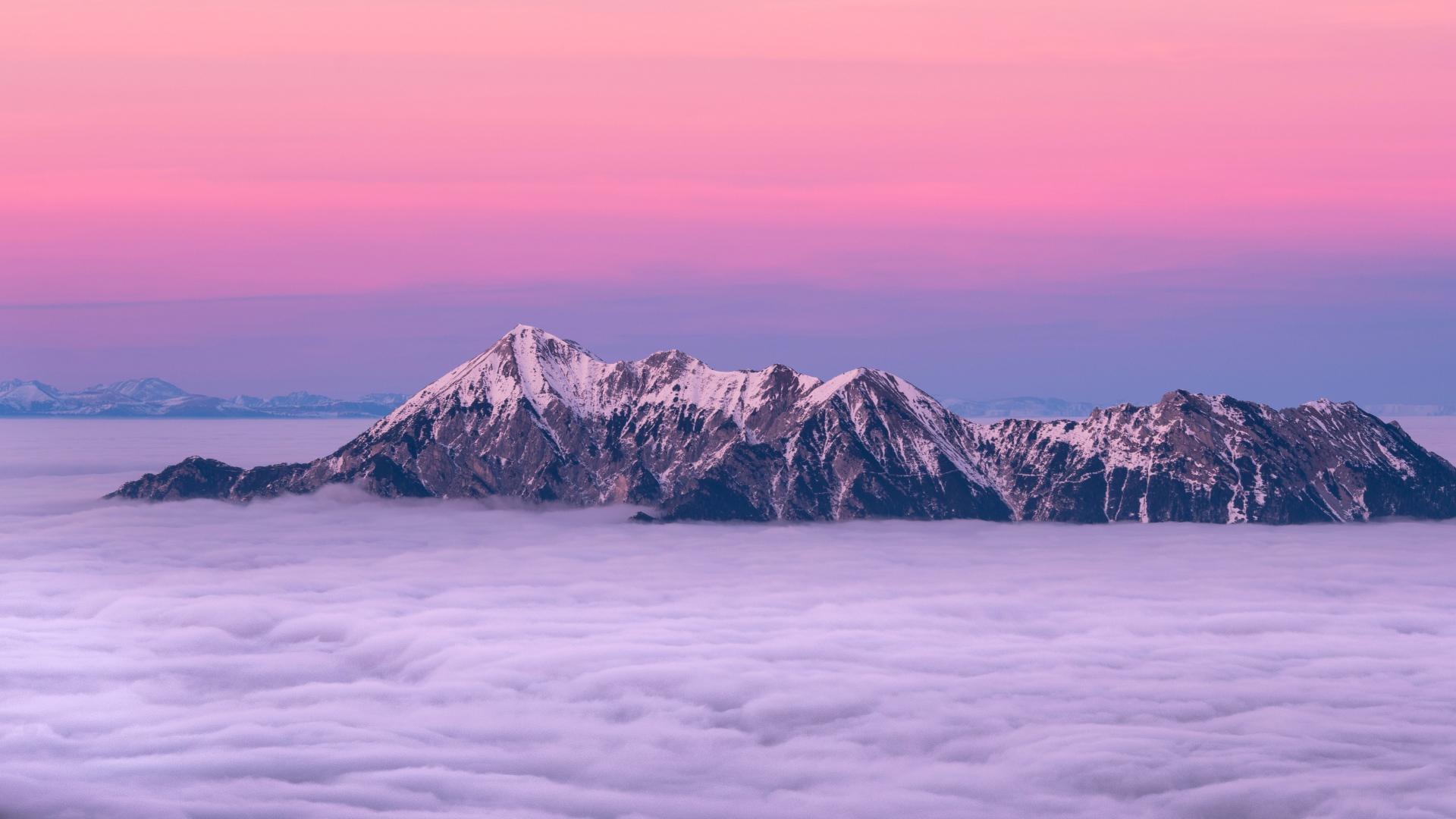 Hd Hintergrundbilder Berge Nebel Spitzen Wolken Desktop