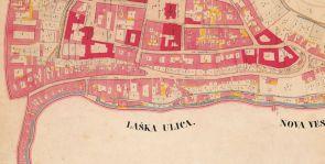 Katarski zemljovid Zagreba list Gornji grad 1862-64.