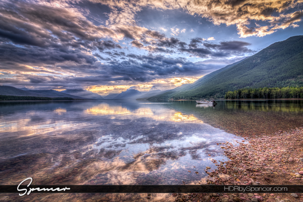 landscape, sunrise, lake mcdonald, glacier national park, montana, boat on the lake, mirror reflection
