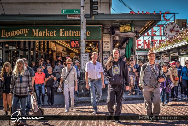 seattle, pike place market, farmers market, pedestrian, street photography, urban, city, HDR