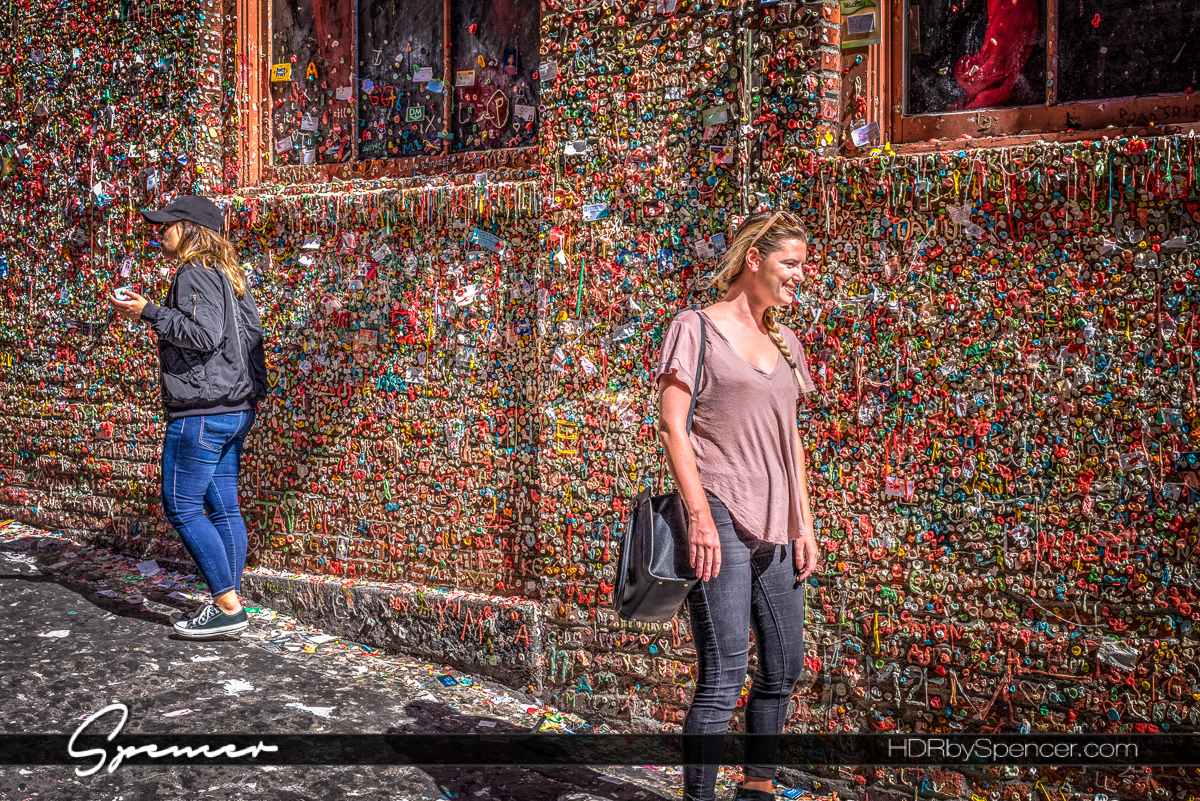seattle gum wall, post alley, tourists, street photography