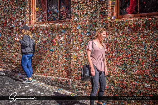 Tourists at the Seattle Gum Wall