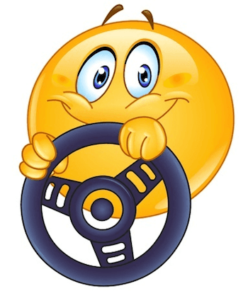 This emoticon is excited a he is going out for a ride