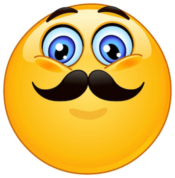 Emoticon giving a proud expression because he has a nasty mustache