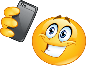 Emoticon taking selfie from his phone