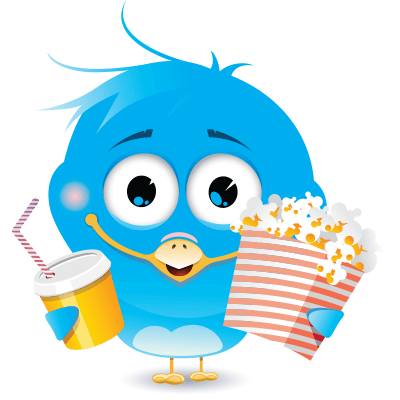 Blue bird emoticon with pop-corn and soft drinks