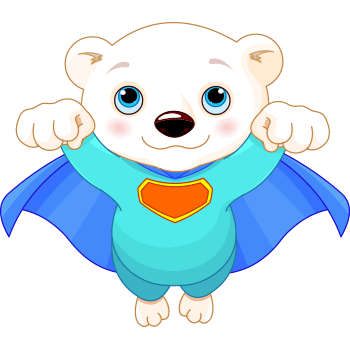Superhero bear emoticon