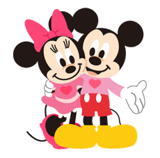 mickey and minnie side hug
