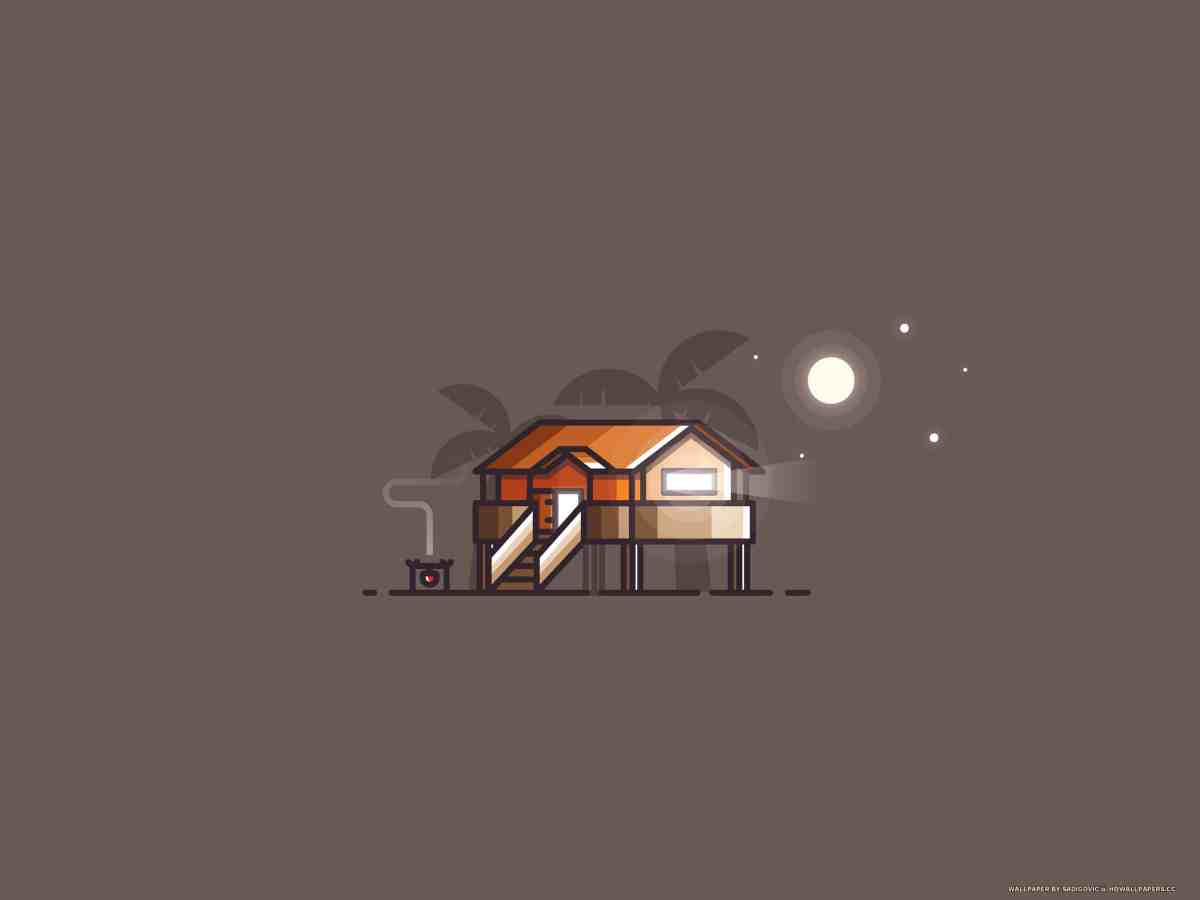 Beach house - minimal illustration