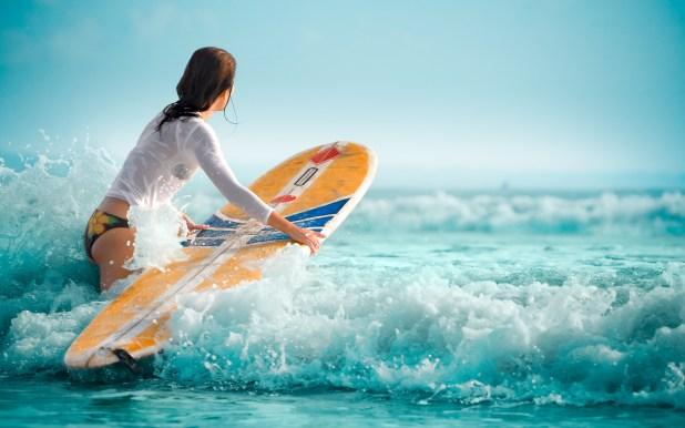 Surfer Girl Wallpaper Wallsmiga