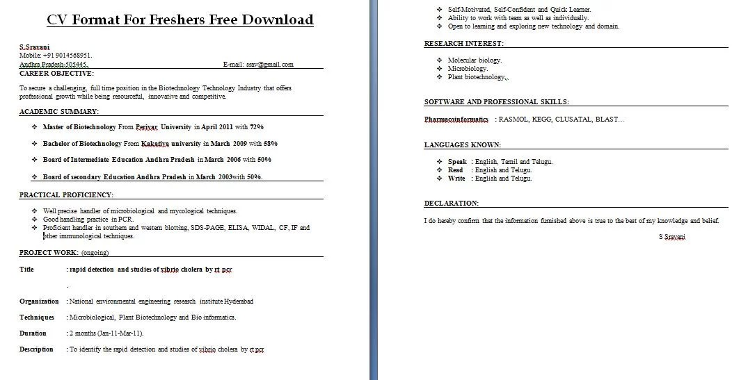 cv format for freshers free download