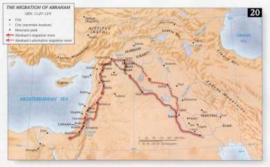 המפה מראה את המסע של אברהם אבינו