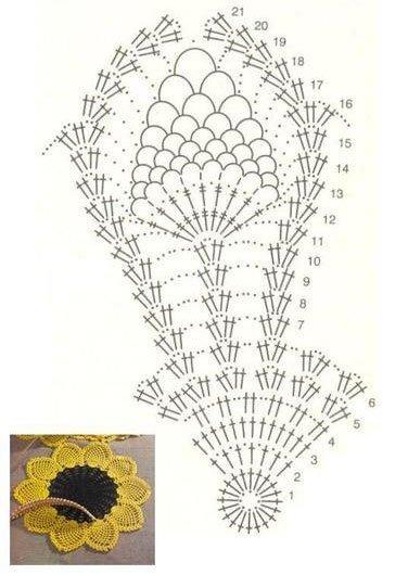 Hur man virkar en solrosservett: ett diagram med en beskrivning