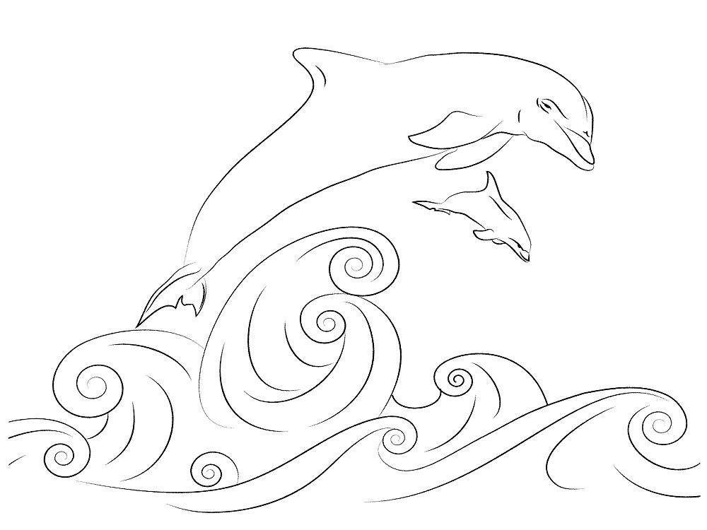 Denizde iki yunus, aşamalı bir çizim.
