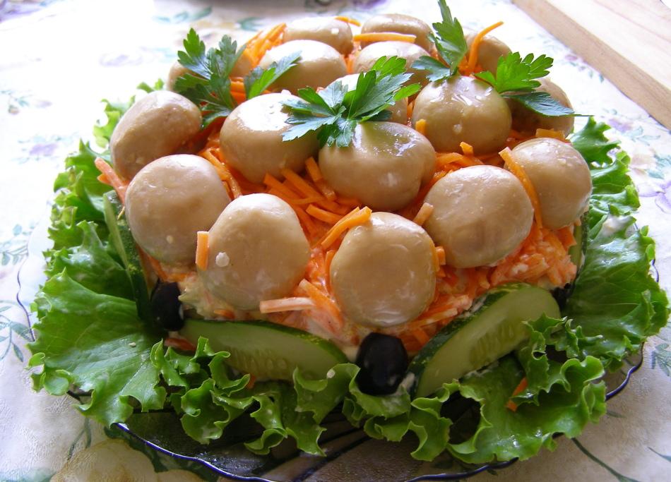 для рецепт салата грибная поляна пошагово с фото округлой формы