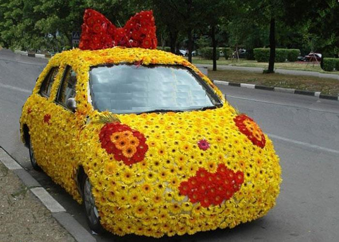 Examples of decoration of wedding cars living colors