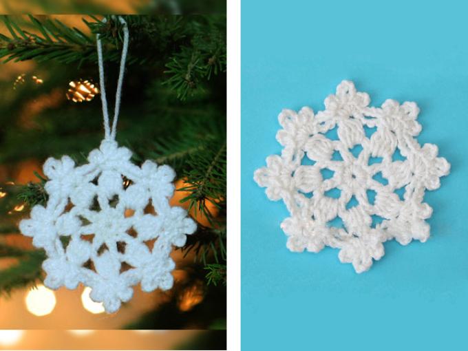 Hur man virkar en liten vit servett i form av snöflingor