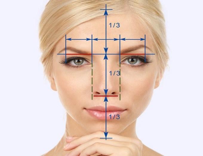 لفهم ما يجب إخفاءه، وما يجب التأكيد عليه - من الضروري إجراء تحليل مفصل لمظهرك. في الصورة أدناه، يمكنك رؤية النسب المثالية ونسبة أجزاء الوجه مع بعضها البعض. ستكون هذه المعرفة مفيدة للغاية بالنسبة لنا لمزيد من مكياج للوفاء، بحيث تفهم بالضبط ما تحتاجه للتنقل أو إجراء خطوط سواد أو توضيح.