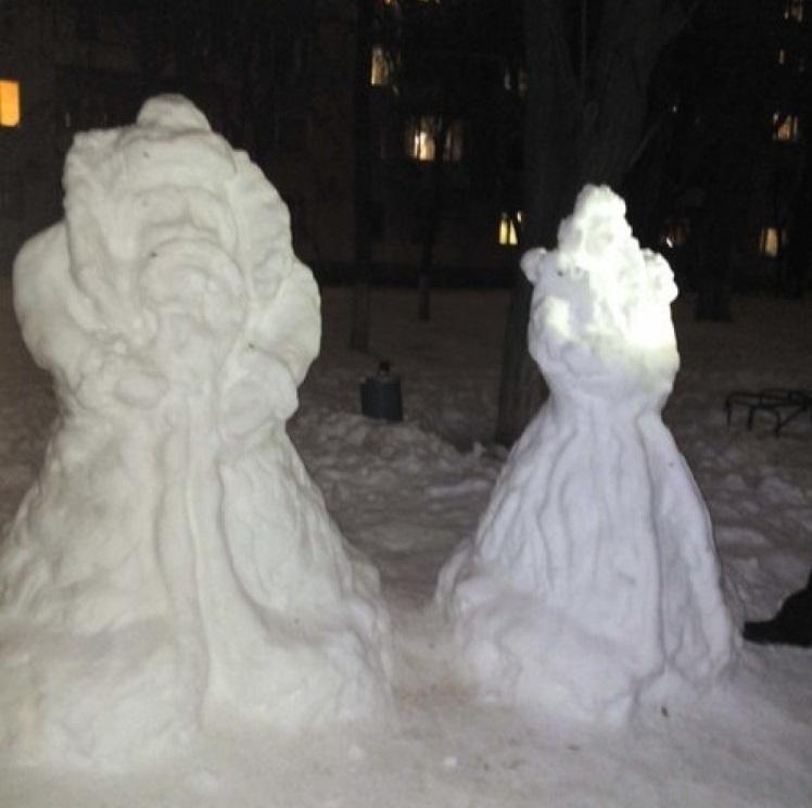 圣诞老人从雪的成熟图的照片,例子2