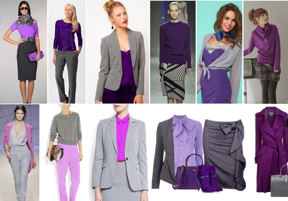 1096efa92 Púrpura oscuro con qué combinar. La combinación de púrpura y gris en ...