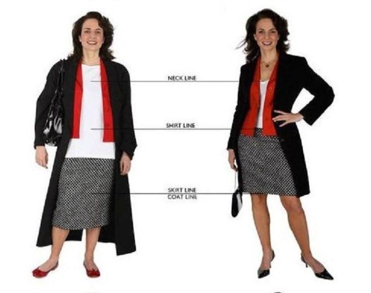 Стройнят: глубокой вырез, более короткая блузка и юбка