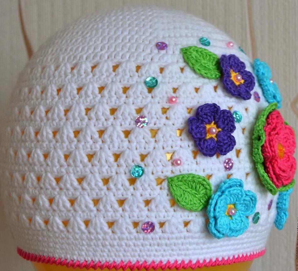 Крючком шапочку для девочки картинки