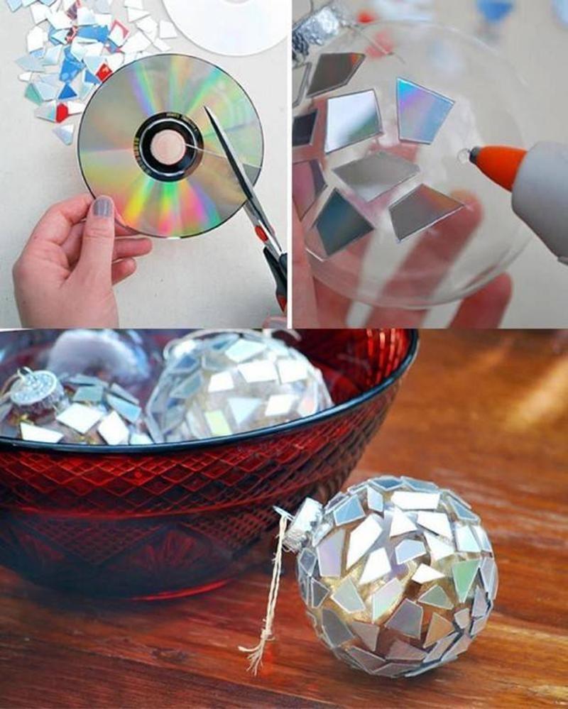 Новогодние поделки на уличную елку из cd дисков