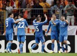 Real Madrid players celebrate a goal against Galatasaray during their Champions League soccer match in Istanbul