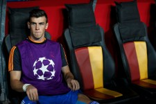 Real Madrid's Bale sits on the bench before the start of their Champions League soccer match against Galatasaray in Istanbul