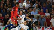 England's defender Chris Smalling (L) vies with Slovakia's defender Tomas Hubocan (R) during the Euro 2016 group B football match between Slovakia and England at the Geoffroy-Guichard stadium in Saint-Etienne on June 20, 2016. / AFP / PHILIPPE DESMAZES (Photo credit should read PHILIPPE DESMAZES/AFP/Getty Images)