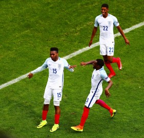 LENS, FRANCE - JUNE 16: Daniel Sturridge and Danny Rose of England celebrate England's second goal during the UEFA EURO 2016 Group B match between England and Wales at Stade Bollaert-Delelis on June 16, 2016 in Lens, France. (Photo by Clive Rose/Getty Images)