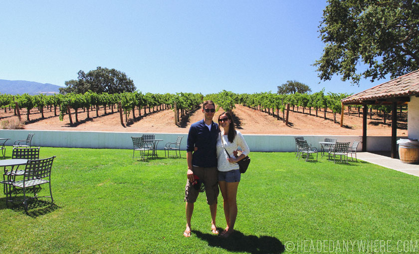 Posing in from of a vineyard in Santa Yunez