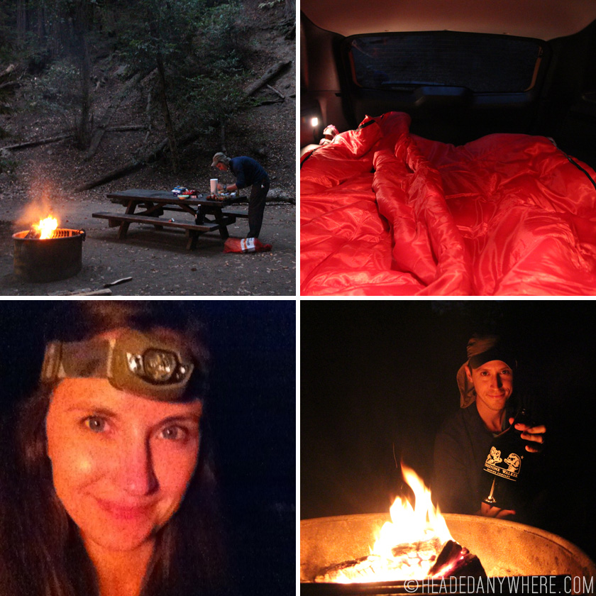 Setting up dinner, our bed in the car, me with a head lamp, firestone walker by the fire