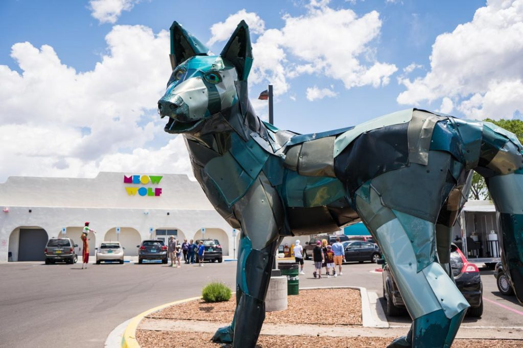 Wolf Sculpture in front of Meow Wolf Santa Fe New Mexico