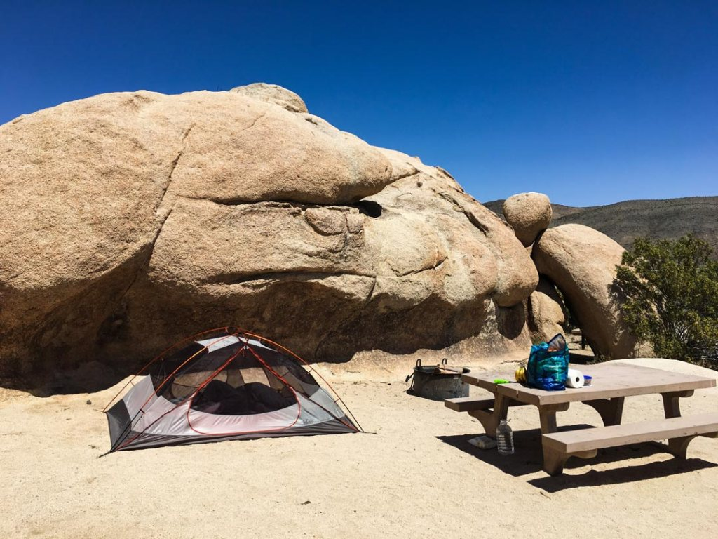 Tent and campsite in Joshua Tree