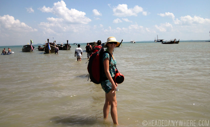 Walking to our longtail boat to Krabi