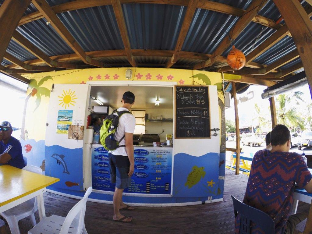 Food stall at Saturday Market in Rarotonga Cook Islands