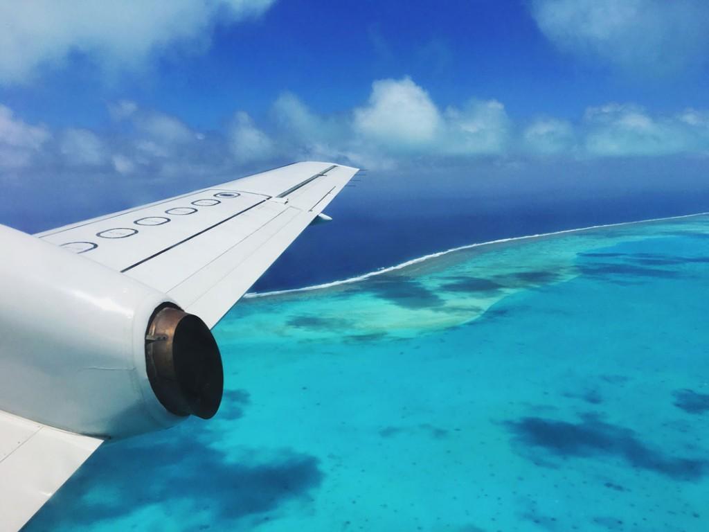 Aitutaki lagoon from Air Rarotonga in the Cook Islands