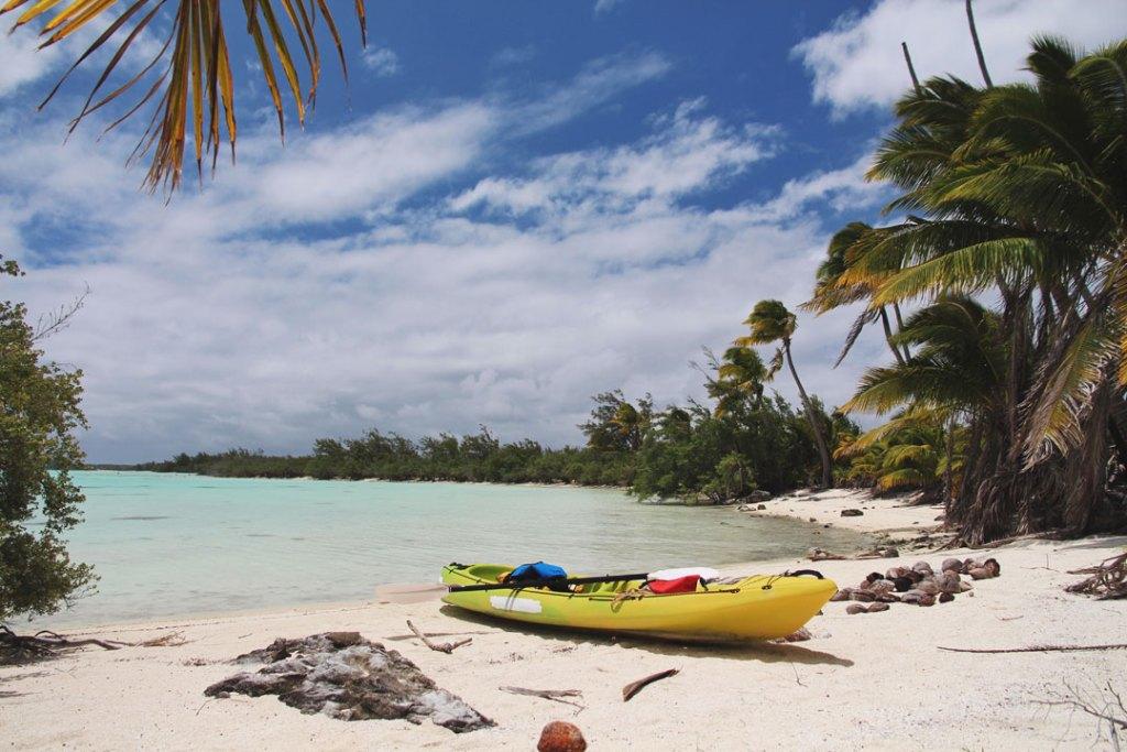Kayak on private beach in Aitutaki atoll, Cook Islands