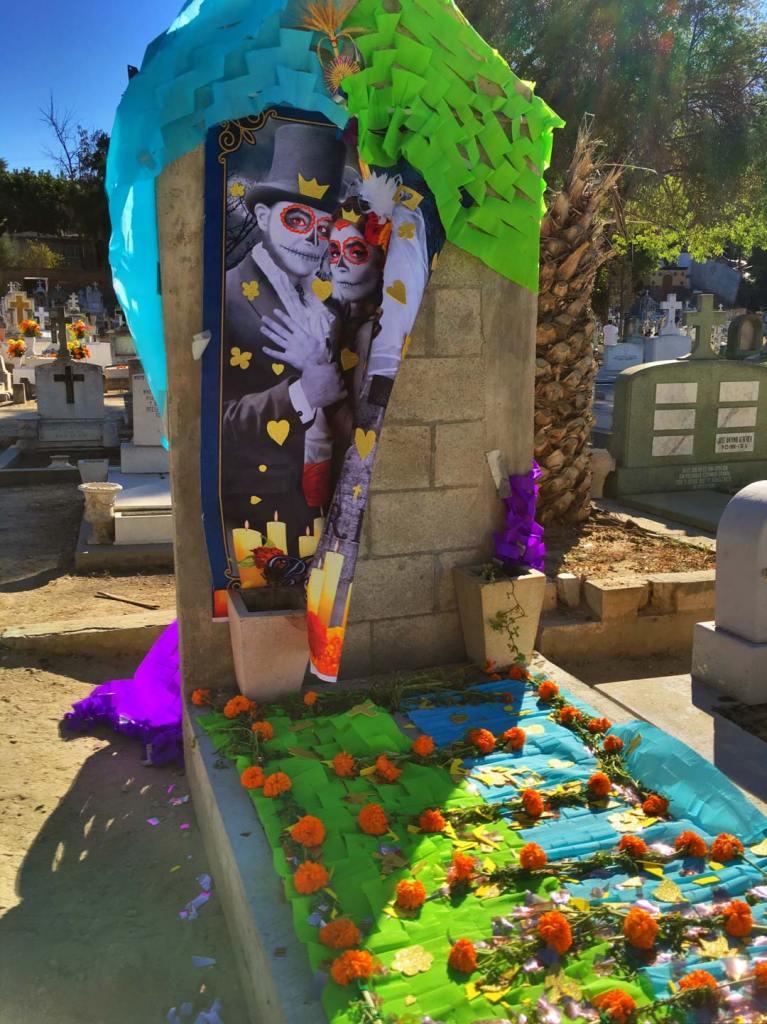 Decorated gravesite for Dia de os Muertos at Panteon Numero Uno in Tijuana Mexico